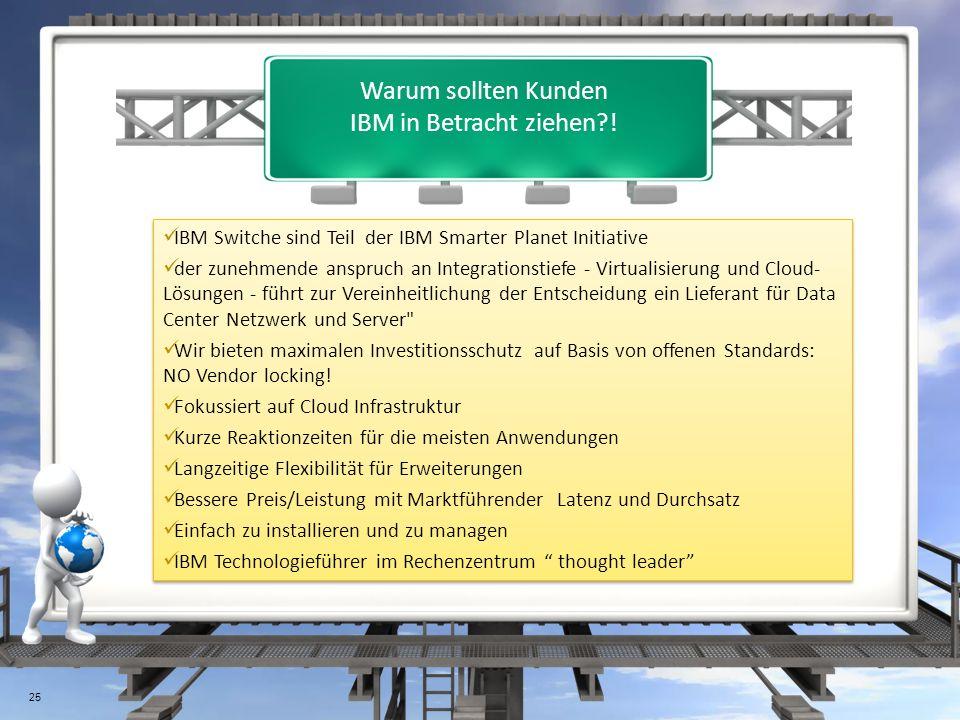 Warum sollten Kunden IBM in Betracht ziehen?! 25 IBM Switche sind Teil der IBM Smarter Planet Initiative der zunehmende anspruch an Integrationstiefe