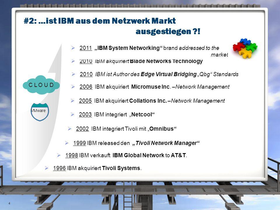 #2: …ist IBM aus dem Netzwerk Markt ausgestiegen ?!  1996 IBM akquiriert Tivoli Systems.  1998 IBM verkauft IBM Global Network to AT&T.  1999 IBM r