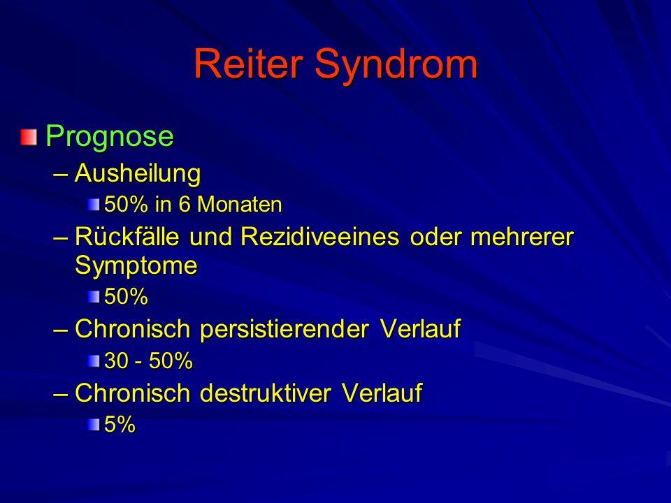 Reiter Syndrom Prognose –Ausheilung 50% in 6 Monaten –Rückfälle und Rezidiveeines oder mehrerer Symptome 50% –Chronisch persistierender Verlauf 30 - 50% –Chronisch destruktiver Verlauf 5%