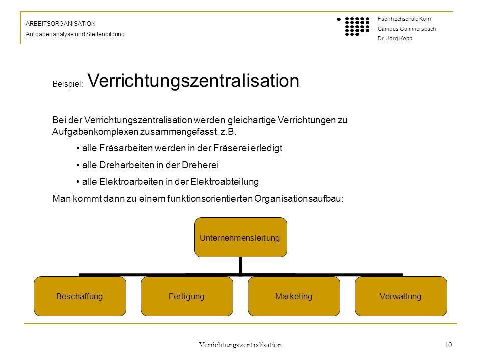 Verrichtungszentralisation 10 ARBEITSORGANISATION Aufgabenanalyse und Stellenbildung Fachhochschule Köln Campus Gummersbach Dr.