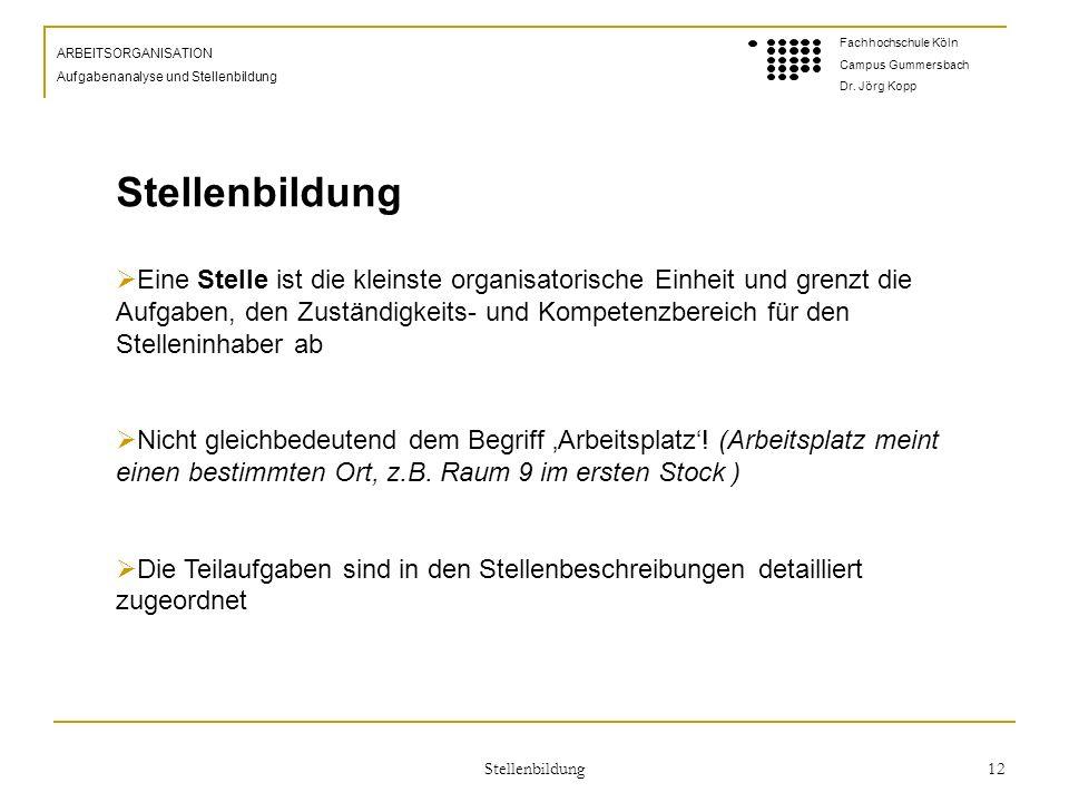 Stellenbildung 12 ARBEITSORGANISATION Aufgabenanalyse und Stellenbildung Fachhochschule Köln Campus Gummersbach Dr.