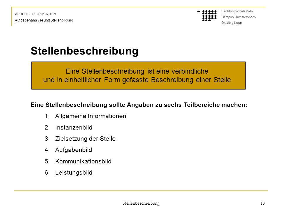 Stellenbeschreibung 13 ARBEITSORGANISATION Aufgabenanalyse und Stellenbildung Fachhochschule Köln Campus Gummersbach Dr.
