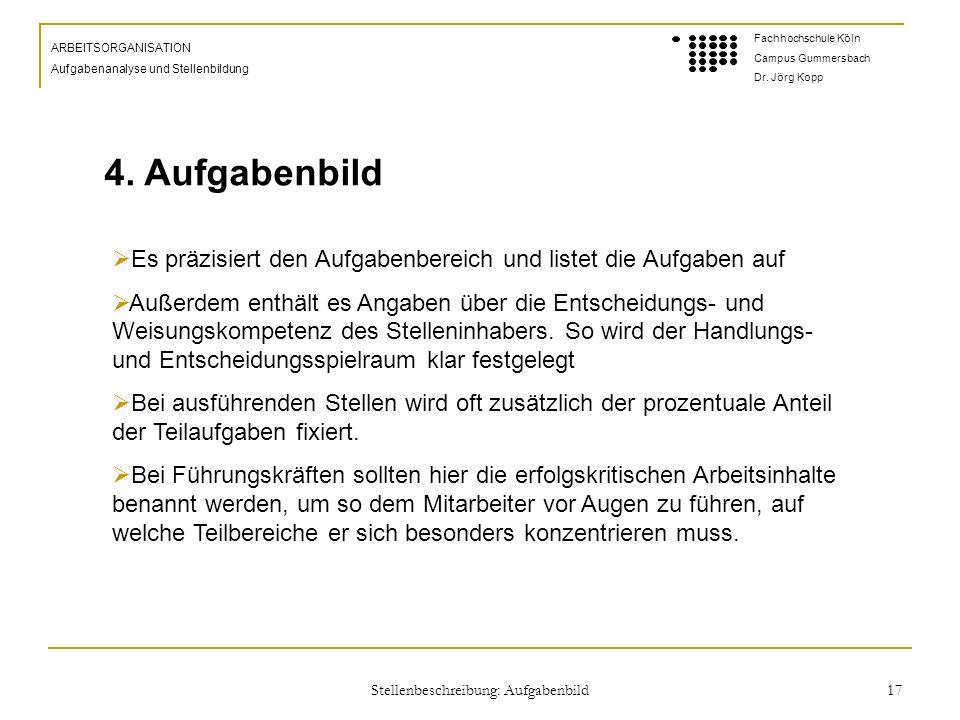 Stellenbeschreibung: Aufgabenbild 17 ARBEITSORGANISATION Aufgabenanalyse und Stellenbildung Fachhochschule Köln Campus Gummersbach Dr.