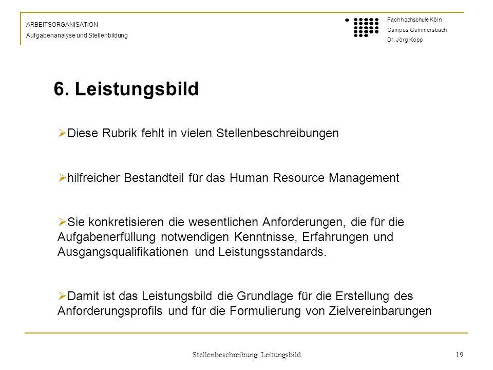 Stellenbeschreibung: Leitungsbild 19 ARBEITSORGANISATION Aufgabenanalyse und Stellenbildung Fachhochschule Köln Campus Gummersbach Dr.