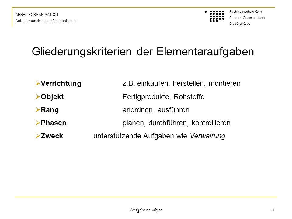 Aufgabenanalyse 4 ARBEITSORGANISATION Aufgabenanalyse und Stellenbildung Fachhochschule Köln Campus Gummersbach Dr.