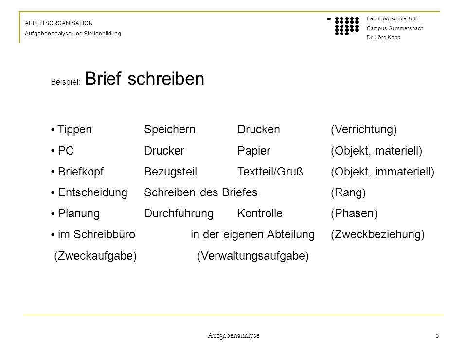 Aufgabenanalyse 5 ARBEITSORGANISATION Aufgabenanalyse und Stellenbildung Fachhochschule Köln Campus Gummersbach Dr.