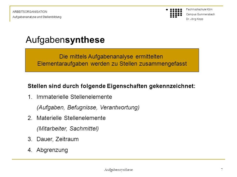 Aufgabensynthese 7 ARBEITSORGANISATION Aufgabenanalyse und Stellenbildung Fachhochschule Köln Campus Gummersbach Dr.