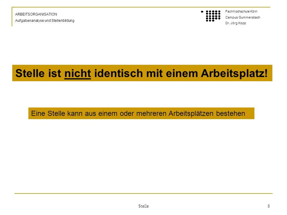 Stelle 8 ARBEITSORGANISATION Aufgabenanalyse und Stellenbildung Fachhochschule Köln Campus Gummersbach Dr.