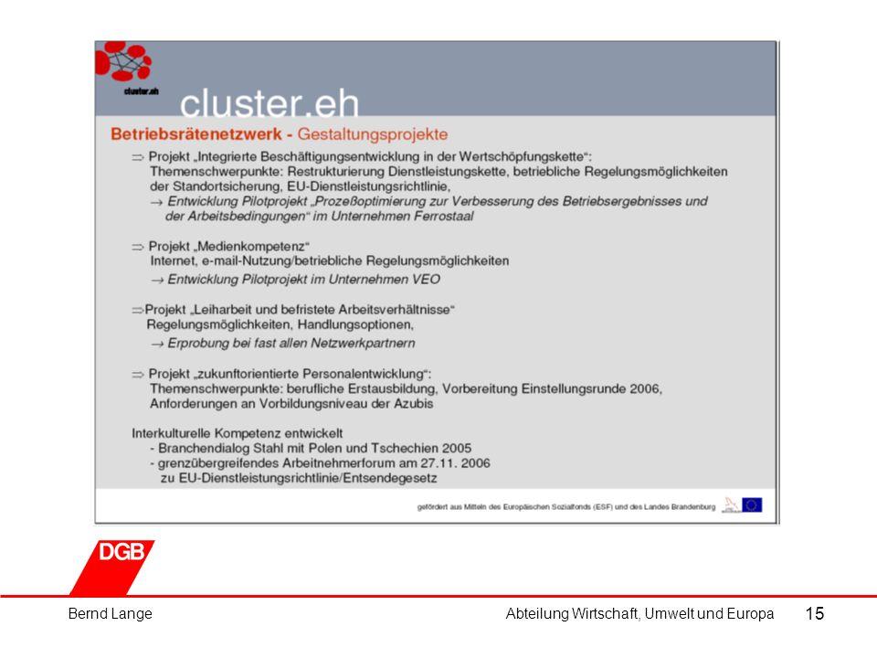 15 Bernd LangeAbteilung Wirtschaft, Umwelt und Europa