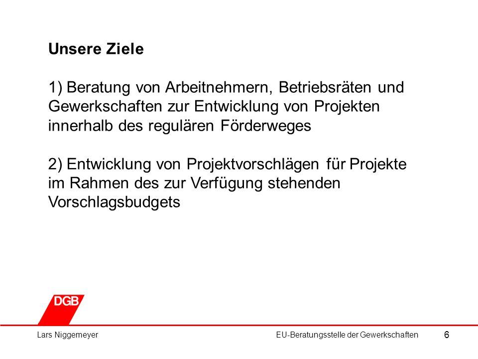 6 Lars NiggemeyerEU-Beratungsstelle der Gewerkschaften Unsere Ziele 1) Beratung von Arbeitnehmern, Betriebsräten und Gewerkschaften zur Entwicklung von Projekten innerhalb des regulären Förderweges 2) Entwicklung von Projektvorschlägen für Projekte im Rahmen des zur Verfügung stehenden Vorschlagsbudgets