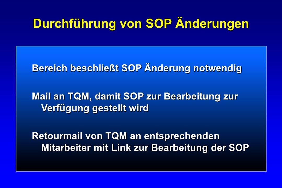 Durchführung von SOP Änderungen Bereich beschließt SOP Änderung notwendig Mail an TQM, damit SOP zur Bearbeitung zur Verfügung gestellt wird Retourmai