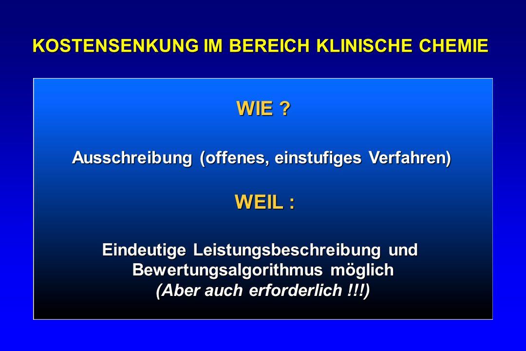 WIE ? KOSTENSENKUNG IM BEREICH KLINISCHE CHEMIE Ausschreibung (offenes, einstufiges Verfahren) WEIL : Eindeutige Leistungsbeschreibung und Bewertungsa