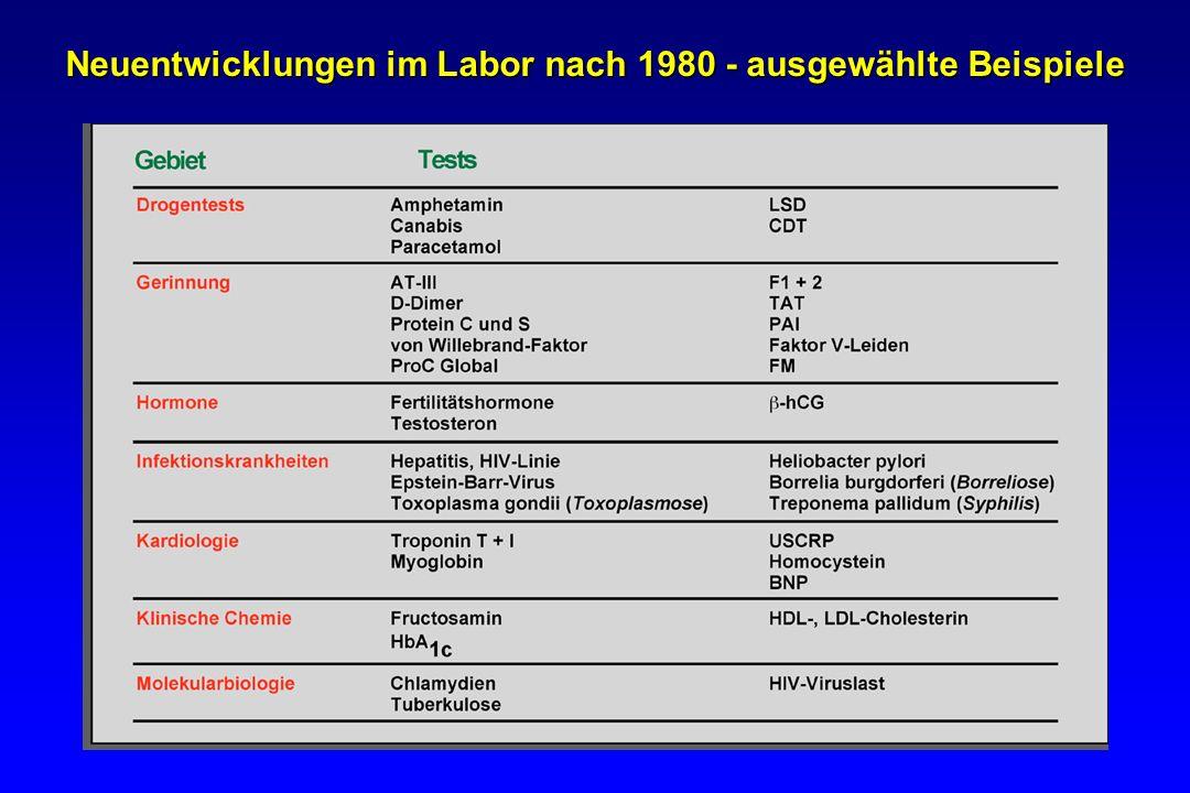 Neuentwicklungen im Labor nach 1980 - ausgewählte Beispiele