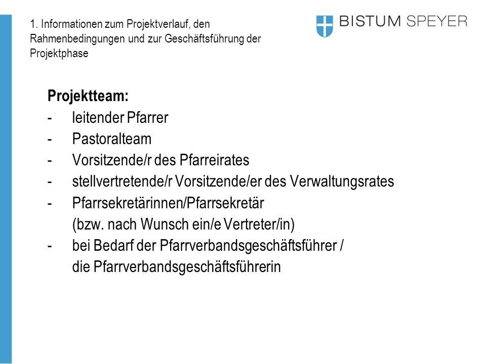 1. Informationen zum Projektverlauf, den Rahmenbedingungen und zur Geschäftsführung der Projektphase Projektteam: -leitender Pfarrer -Pastoralteam -Vo