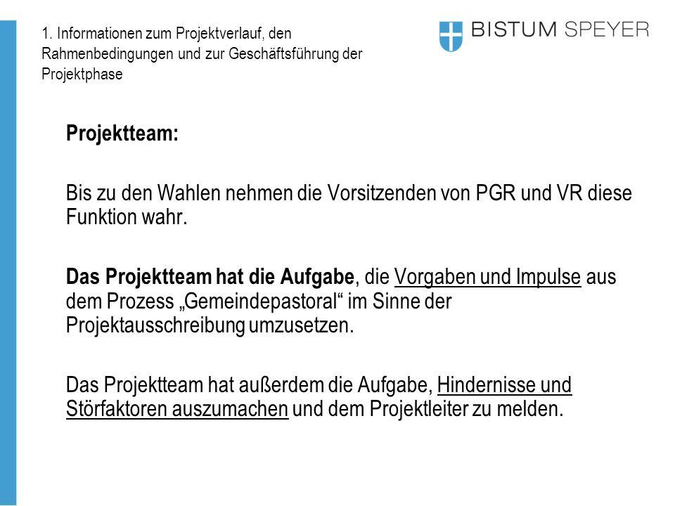 1. Informationen zum Projektverlauf, den Rahmenbedingungen und zur Geschäftsführung der Projektphase Projektteam: Bis zu den Wahlen nehmen die Vorsitz