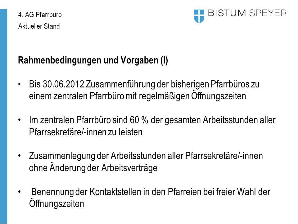 4. AG Pfarrbüro Aktueller Stand Rahmenbedingungen und Vorgaben (I) Bis 30.06.2012 Zusammenführung der bisherigen Pfarrbüros zu einem zentralen Pfarrbü