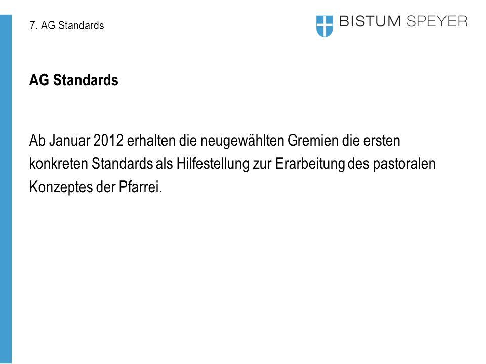 7. AG Standards AG Standards Ab Januar 2012 erhalten die neugewählten Gremien die ersten konkreten Standards als Hilfestellung zur Erarbeitung des pas