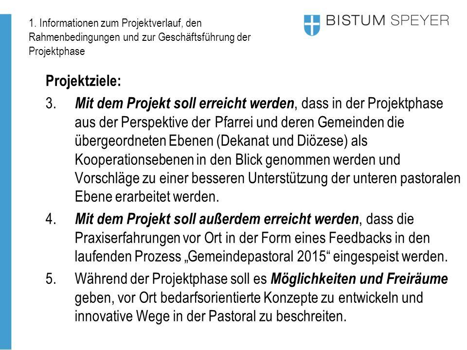 1. Informationen zum Projektverlauf, den Rahmenbedingungen und zur Geschäftsführung der Projektphase Projektziele: 3. Mit dem Projekt soll erreicht we