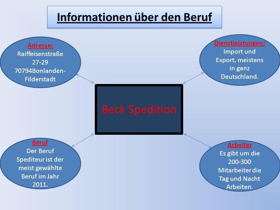 Beck Spedition Adresse: Raiffeisenstraße 27-29 70794Bonlanden- Filderstadt Dienstleistungen: Import und Export, meistens in ganz Deutschland.