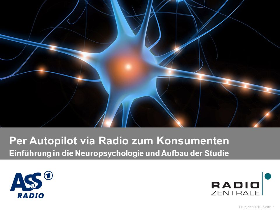 Name der Präsentation / Kapitel Frühjahr 2010, Seite 2 Einführung in die Neuropsychologie und Aufbau der Studie Fragestellung: Wirkt im Radio auch eine unbewusst / nebenbei wahrgenommene Werbebotschaft auf den Kaufanreiz und die Markenbildung.