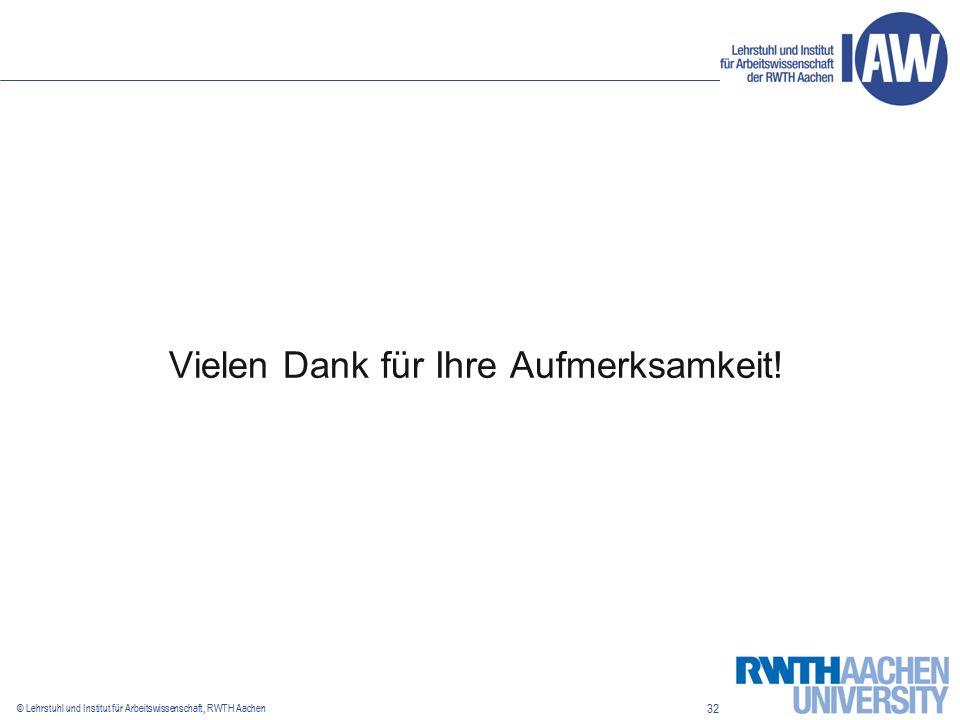 32 © Lehrstuhl und Institut für Arbeitswissenschaft, RWTH Aachen Vielen Dank für Ihre Aufmerksamkeit!
