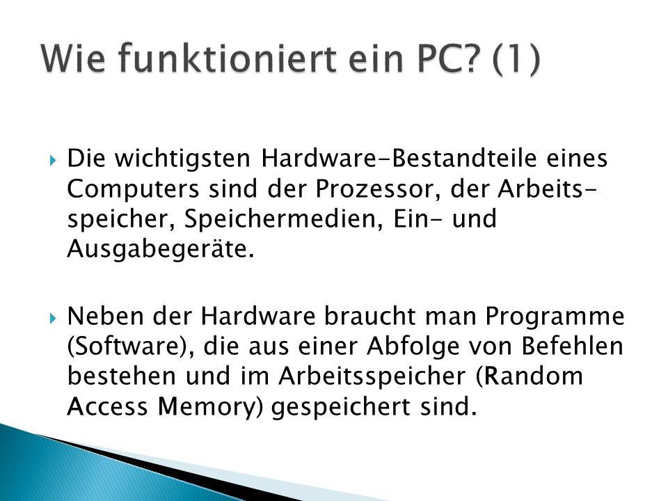  Die wichtigsten Hardware-Bestandteile eines Computers sind der Prozessor, der Arbeits- speicher, Speichermedien, Ein- und Ausgabegeräte.  Neben der