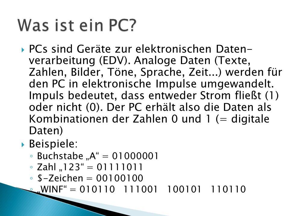  PCs sind Geräte zur elektronischen Daten- verarbeitung (EDV). Analoge Daten (Texte, Zahlen, Bilder, Töne, Sprache, Zeit...) werden für den PC in ele