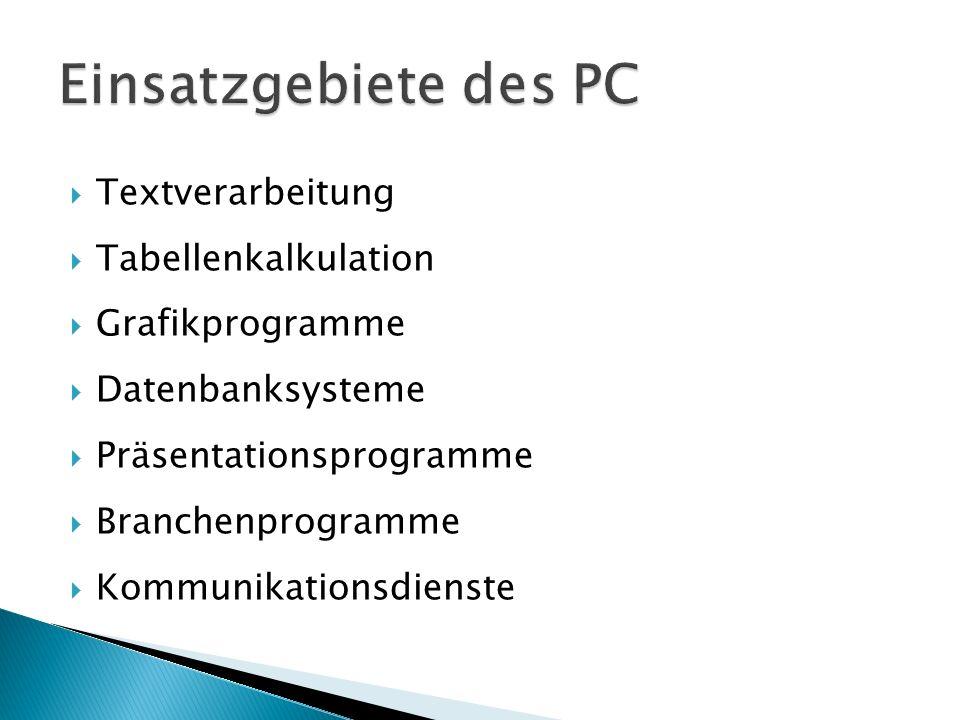  Textverarbeitung  Tabellenkalkulation  Grafikprogramme  Datenbanksysteme  Präsentationsprogramme  Branchenprogramme  Kommunikationsdienste