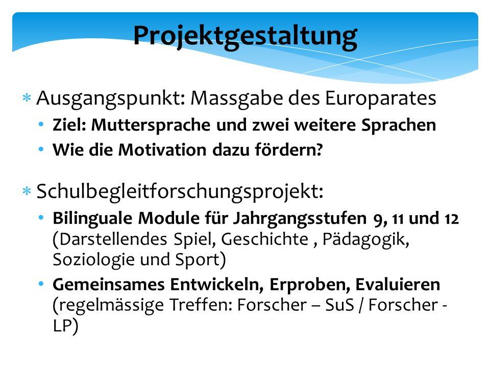 Projektgestaltung  Ausgangspunkt: Massgabe des Europarates Ziel: Muttersprache und zwei weitere Sprachen Wie die Motivation dazu fördern.