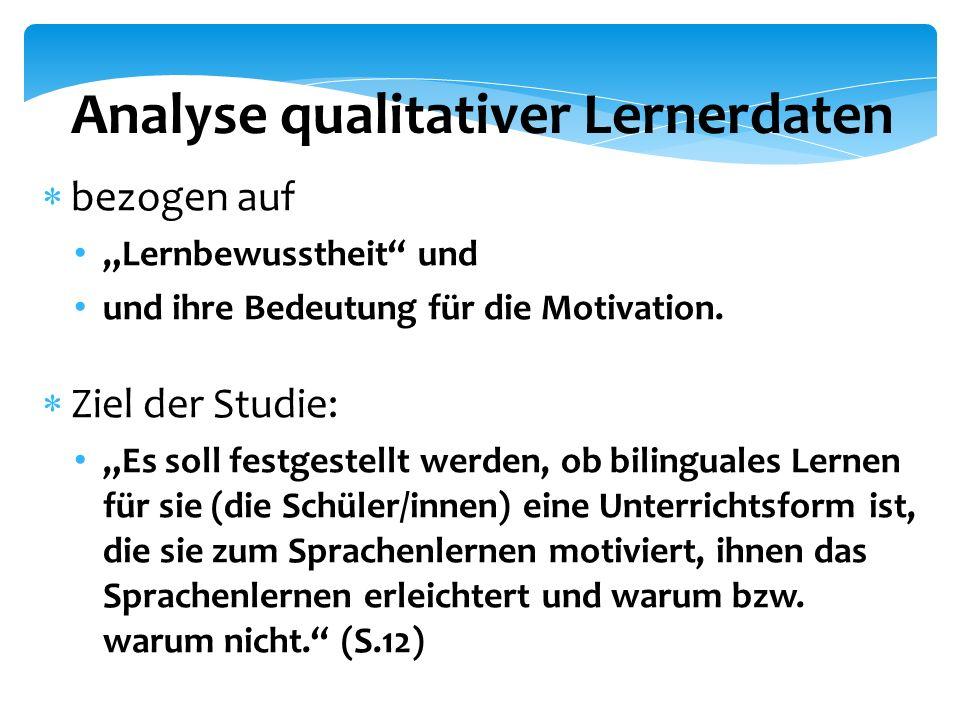 """Analyse qualitativer Lernerdaten  bezogen auf """"Lernbewusstheit und und ihre Bedeutung für die Motivation."""