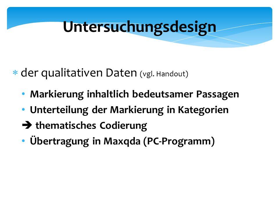Untersuchungsdesign  der qualitativen Daten (vgl.