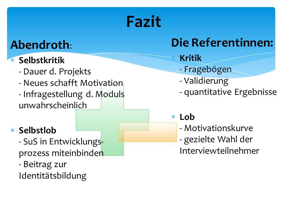 Abendroth :  Selbstkritik - Dauer d. Projekts - Neues schafft Motivation - Infragestellung d.