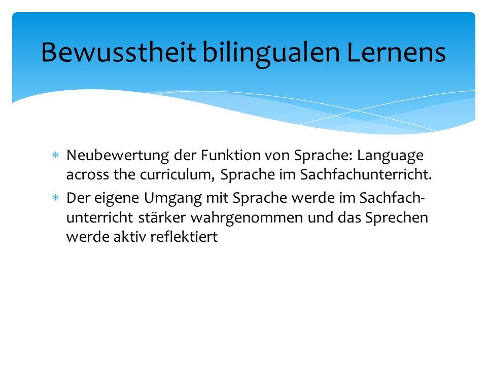 Neubewertung der Funktion von Sprache: Language across the curriculum, Sprache im Sachfachunterricht.