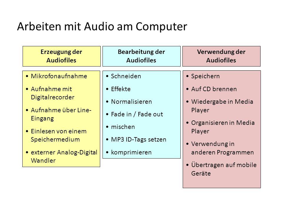 Arbeiten mit Audio am Computer Erzeugung der Audiofiles Mikrofonaufnahme Aufnahme mit Digitalrecorder Aufnahme über Line- Eingang Einlesen von einem S