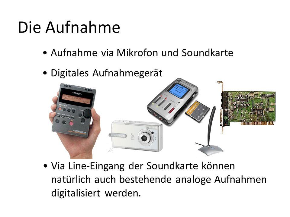 Die Aufnahme Aufnahme via Mikrofon und Soundkarte Digitales Aufnahmegerät Via Line-Eingang der Soundkarte können natürlich auch bestehende analoge Auf