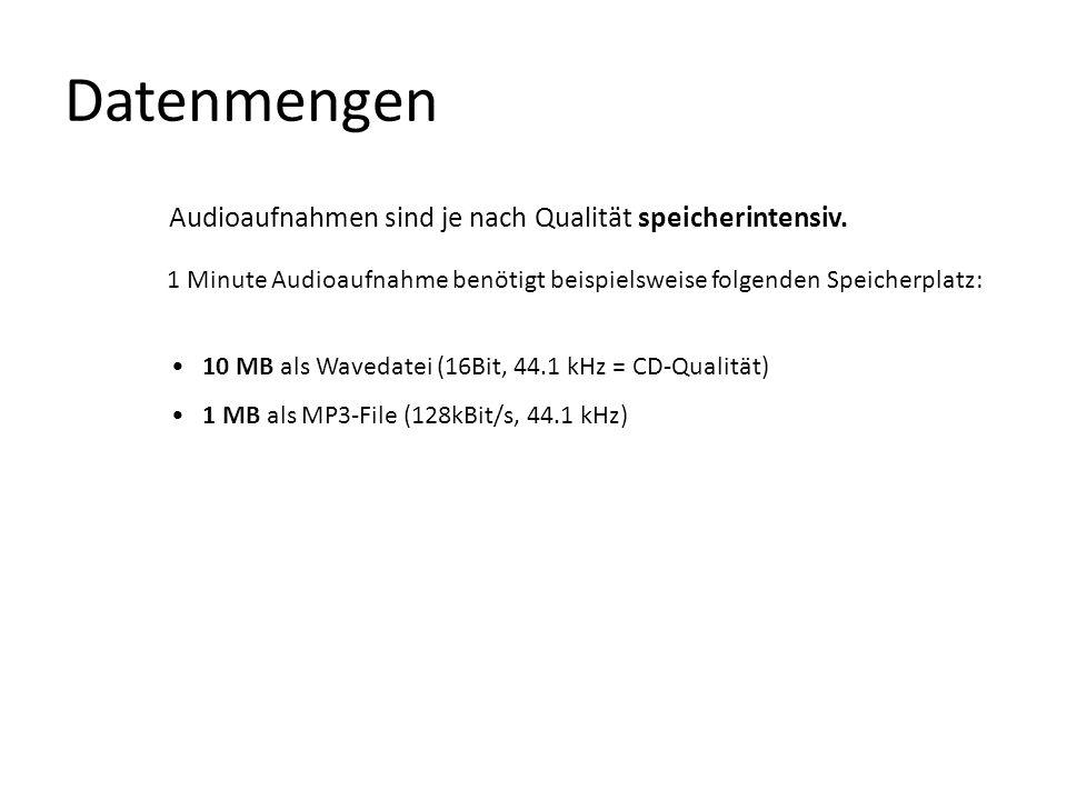 Datenmengen Audioaufnahmen sind je nach Qualität speicherintensiv. 1 Minute Audioaufnahme benötigt beispielsweise folgenden Speicherplatz: 10 MB als W