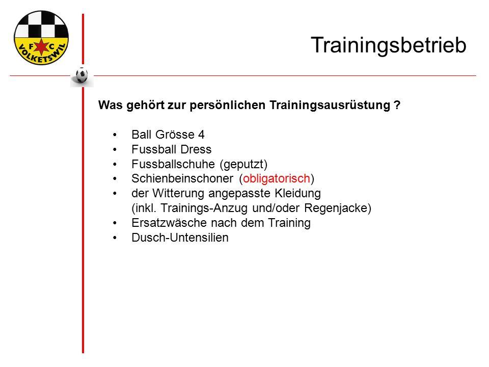 Trainingsbetrieb Was gehört zur persönlichen Trainingsausrüstung .