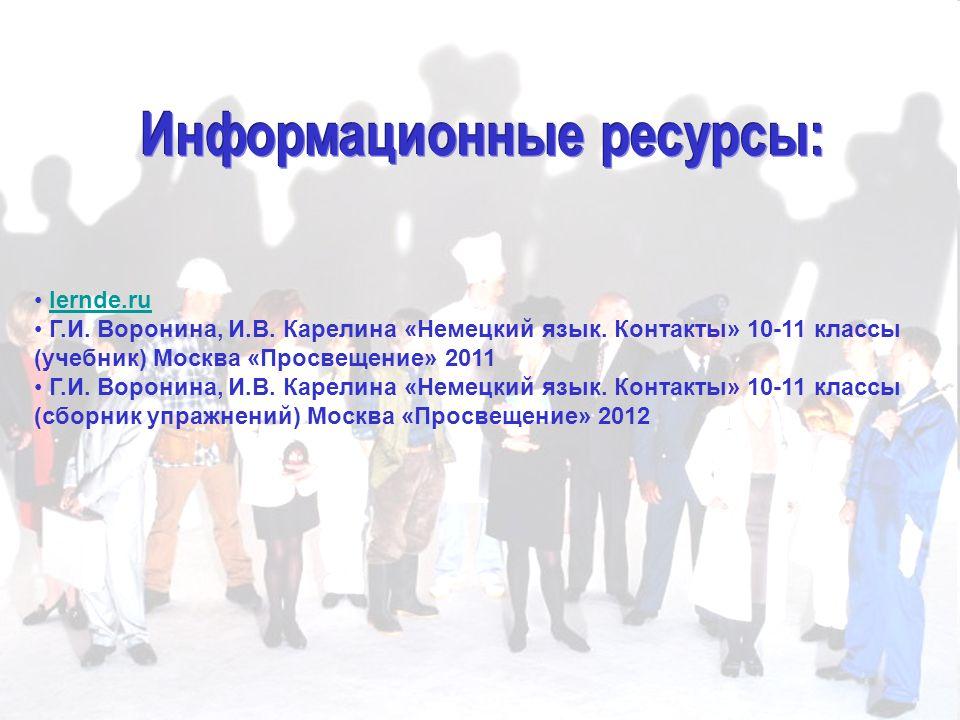 lernde.ru Г.И. Воронина, И.В. Карелина «Немецкий язык.