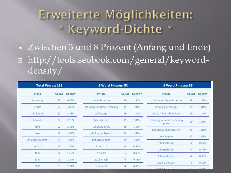  Zwischen 3 und 8 Prozent (Anfang und Ende)  http://tools.seobook.com/general/keyword- density/