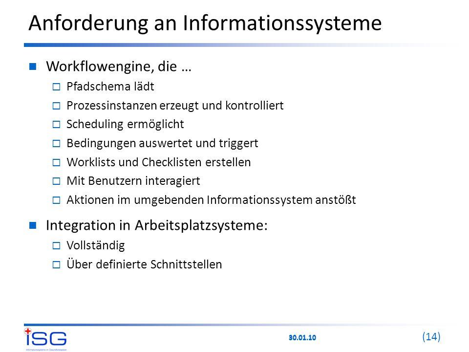 30.01.10 (14) Anforderung an Informationssysteme Workflowengine, die …  Pfadschema lädt  Prozessinstanzen erzeugt und kontrolliert  Scheduling ermö