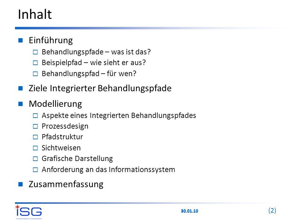 30.01.10 (2) Inhalt Einführung  Behandlungspfade – was ist das?  Beispielpfad – wie sieht er aus?  Behandlungspfad – für wen? Ziele Integrierter Be