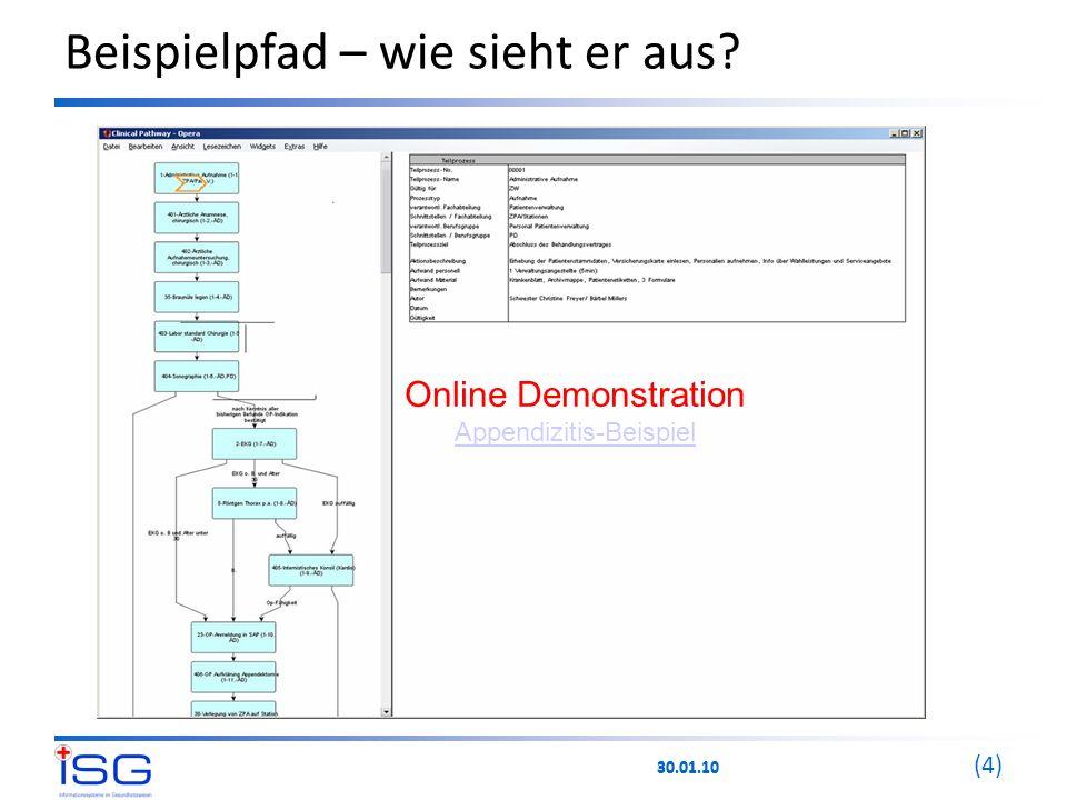 30.01.10 (4) Beispielpfad – wie sieht er aus? Online Demonstration Appendizitis-Beispiel