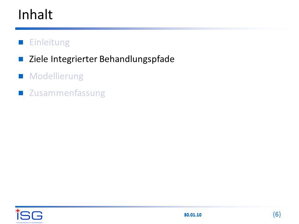 30.01.10 (6) Inhalt Einleitung Ziele Integrierter Behandlungspfade Modellierung Zusammenfassung