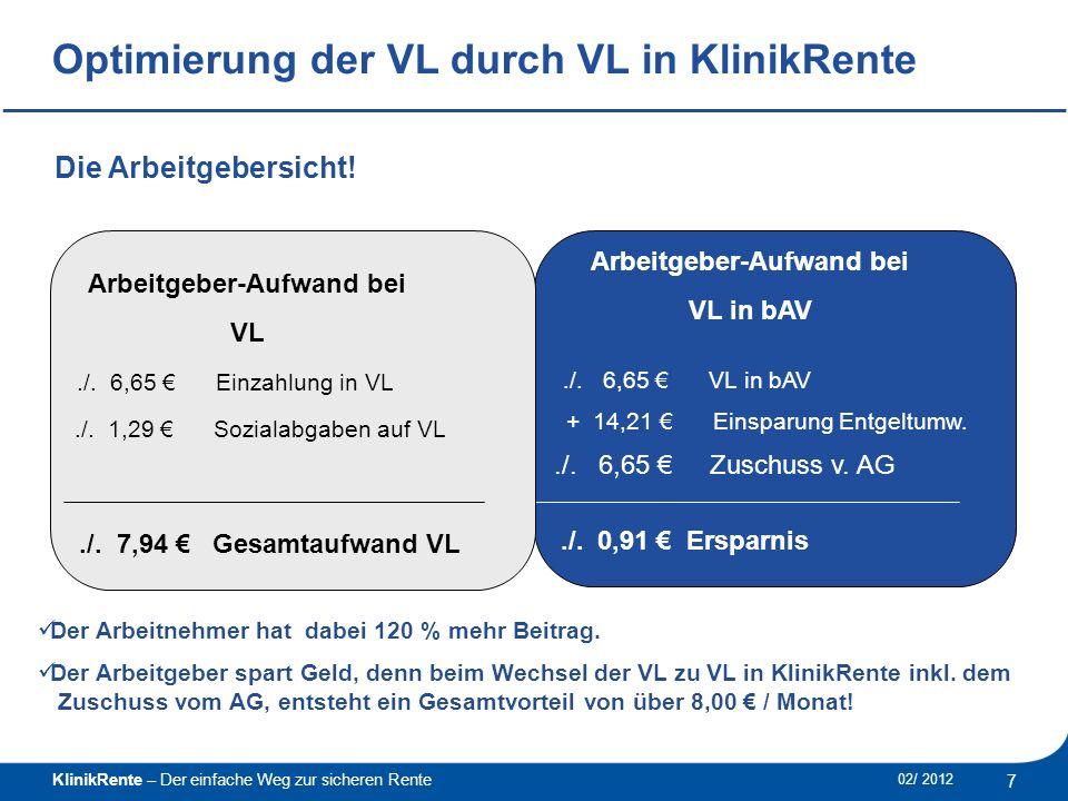 KlinikRente – Der einfache Weg zur sicheren Rente 8 02/ 2012 ______________________________________________ VL und AVL im Vergleich.