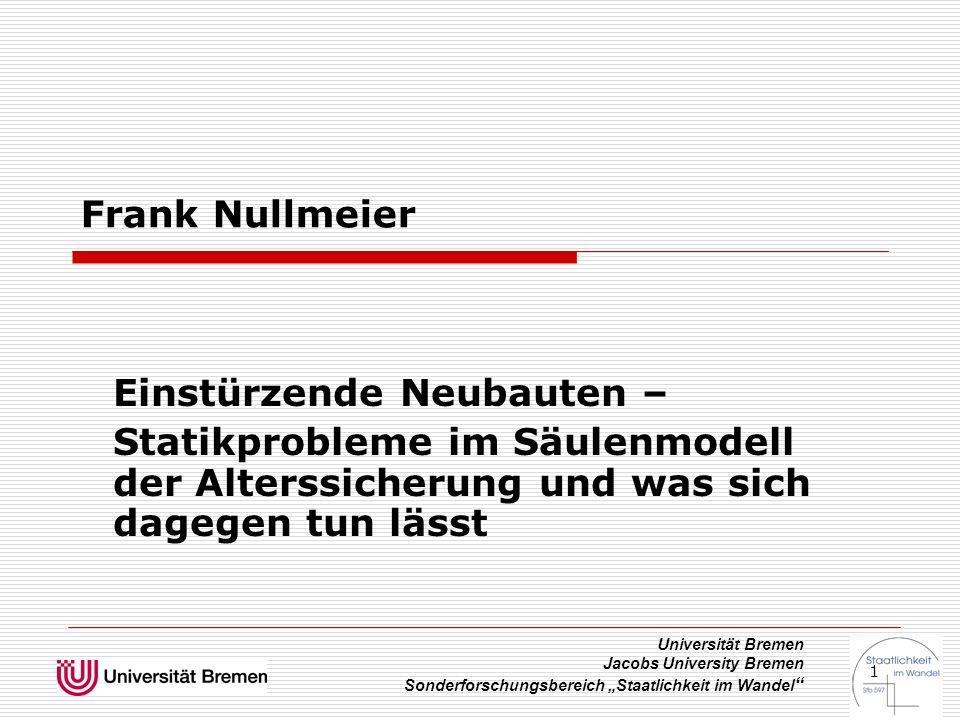 """Universität Bremen Jacobs University Bremen Sonderforschungsbereich """"Staatlichkeit im Wandel """" 1 Frank Nullmeier Einstürzende Neubauten – Statikproble"""