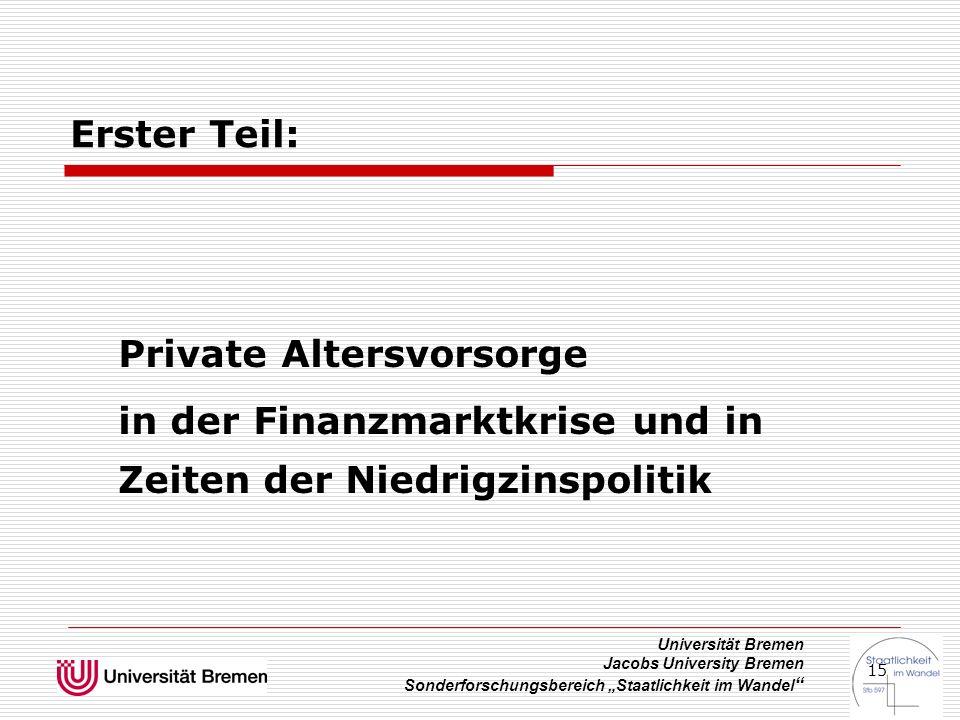 """Universität Bremen Jacobs University Bremen Sonderforschungsbereich """"Staatlichkeit im Wandel """" 15 Erster Teil: Private Altersvorsorge in der Finanzmar"""