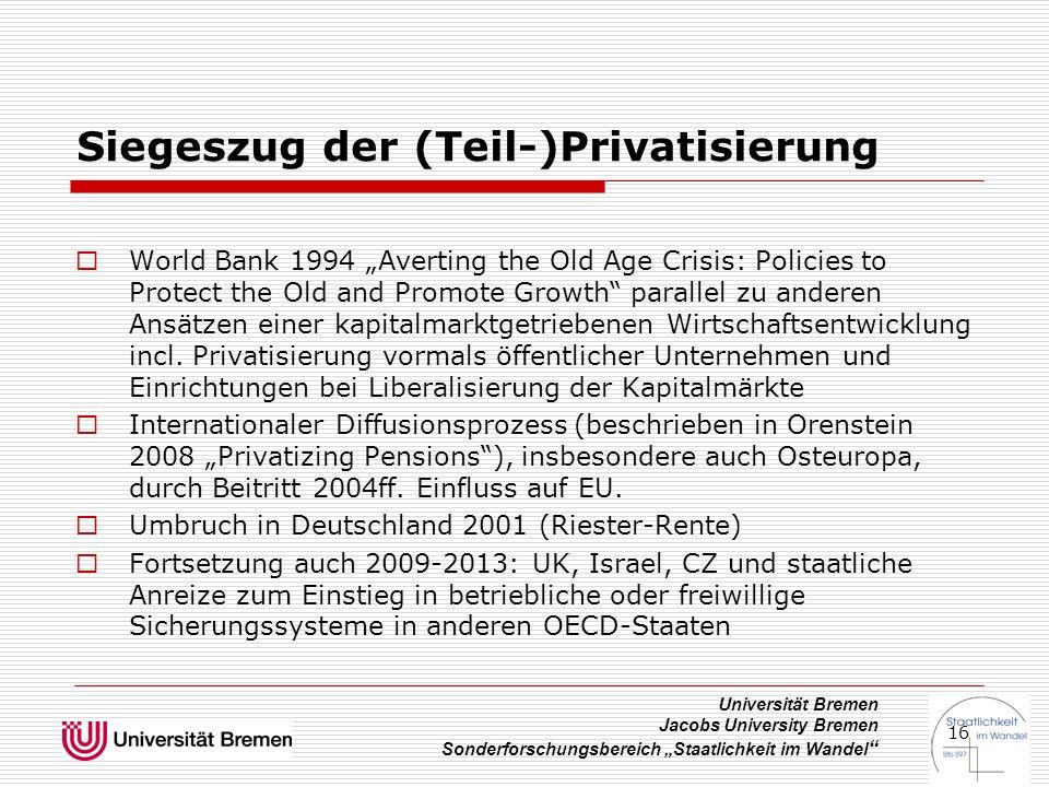 """Universität Bremen Jacobs University Bremen Sonderforschungsbereich """"Staatlichkeit im Wandel """" 16 Siegeszug der (Teil-)Privatisierung  World Bank 199"""