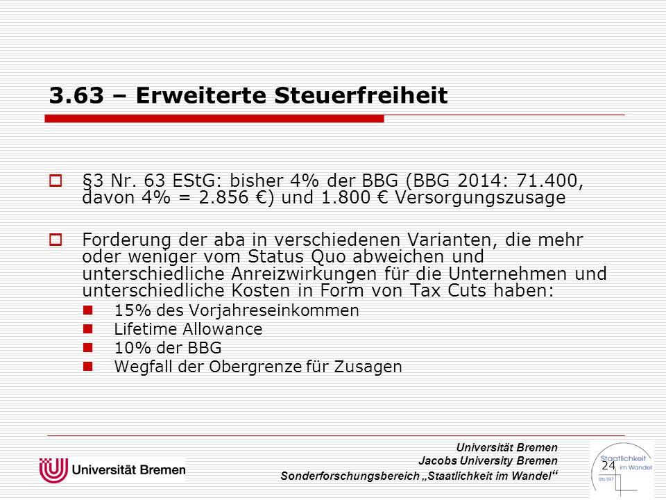 """Universität Bremen Jacobs University Bremen Sonderforschungsbereich """"Staatlichkeit im Wandel """" 24 3.63 – Erweiterte Steuerfreiheit  §3 Nr. 63 EStG: b"""