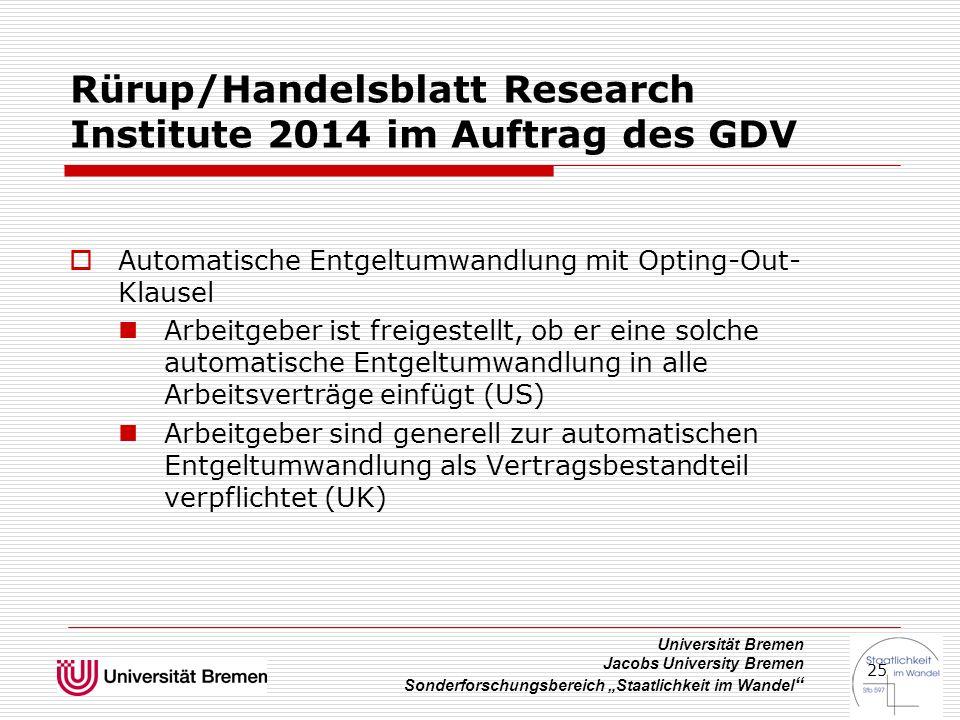 """Universität Bremen Jacobs University Bremen Sonderforschungsbereich """"Staatlichkeit im Wandel """" 25 Rürup/Handelsblatt Research Institute 2014 im Auftra"""