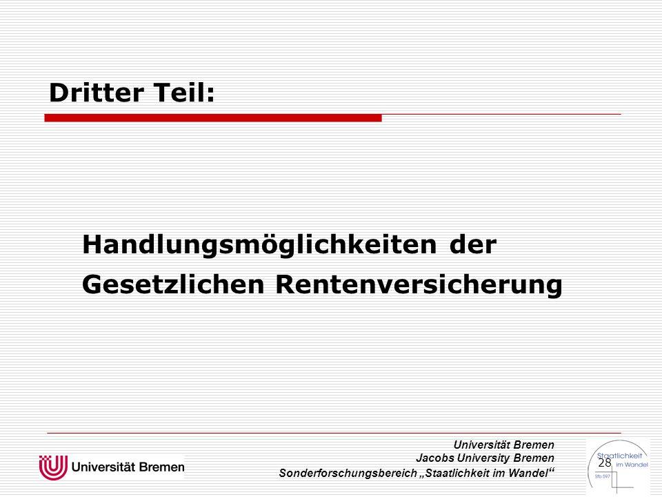 """Universität Bremen Jacobs University Bremen Sonderforschungsbereich """"Staatlichkeit im Wandel 28 Dritter Teil: Handlungsmöglichkeiten der Gesetzlichen Rentenversicherung"""